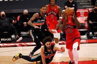 NBA: Short-handed Raptors spread scoring around in beating Spurs