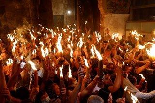Crowds gather for Holy Fire ceremony at Jerusalem's Holy Sepulcher