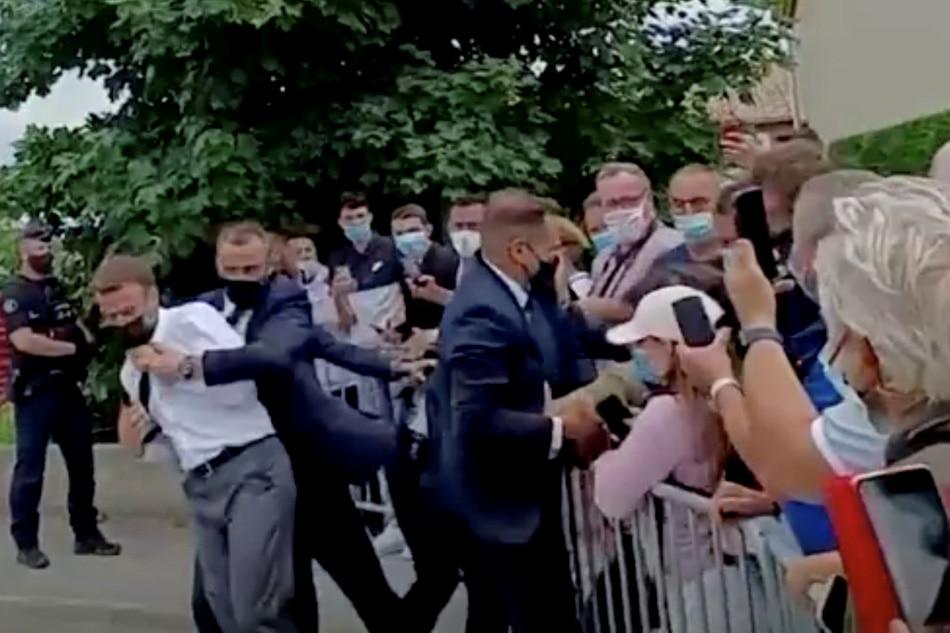 French President Macron slapped, 2 arrested