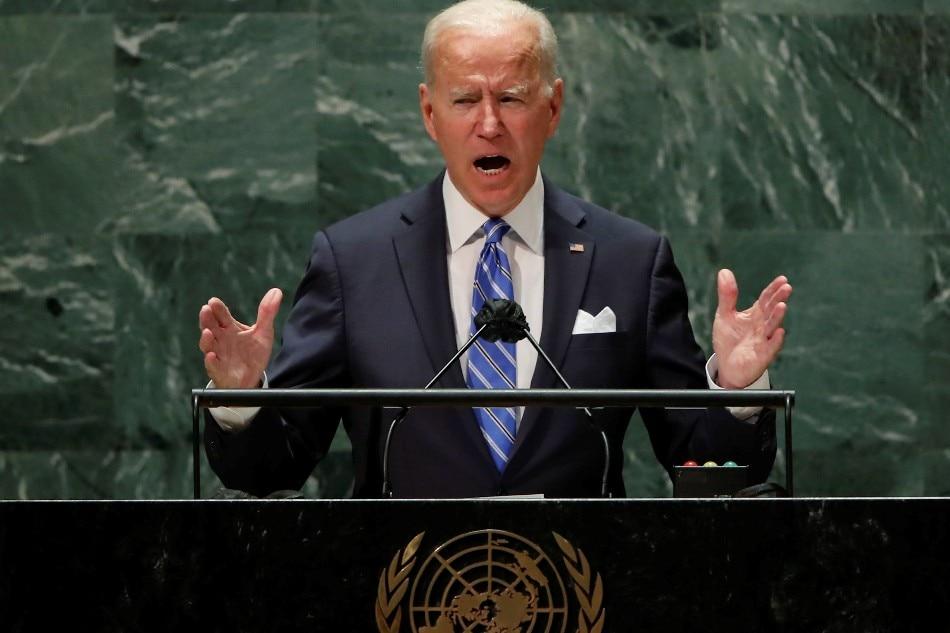 US President Joe Biden addresses the 76th Session of the UN General Assembly in New York City, U.S., September 21, 2021. Eduardo Munoz via pool, Reuters