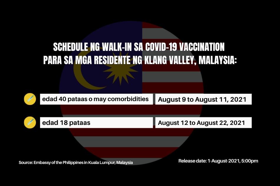 walk-in vaccination in Malaysia