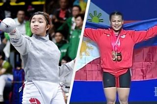 Filipino weightlifters, fencers return to PH after successful international stints