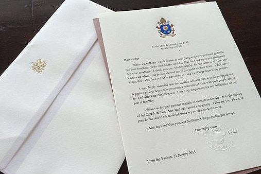 look pope francis letter to palo archbishop abs cbn news
