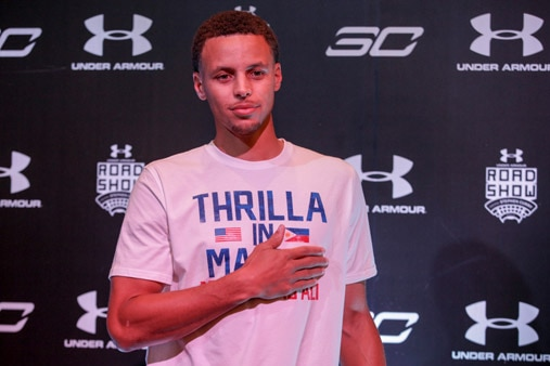 Steph curry basks in love from filipino fans abs cbn news for Thrilla in manila shirt under armour