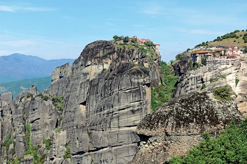 Of monasteries suspended in sandstone pillars