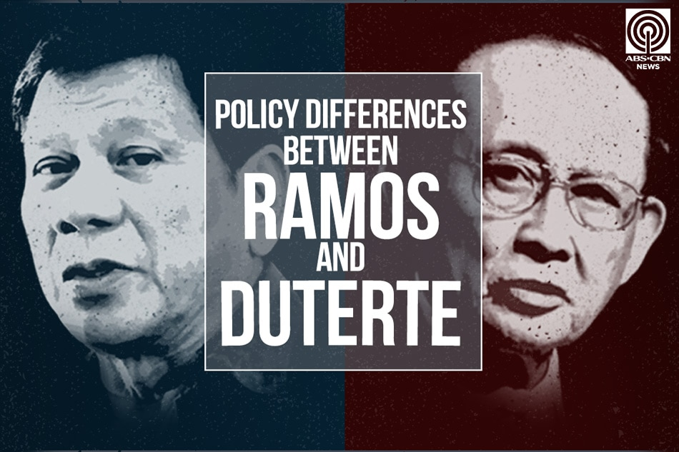 Policy differences between Ramos and Duterte;