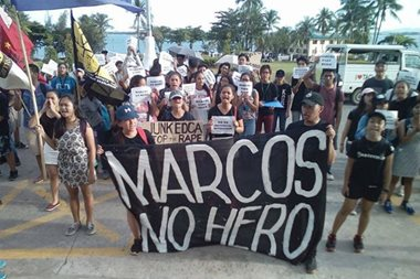 LOOK: UP Tacloban students protest Marcos burial at LNMB