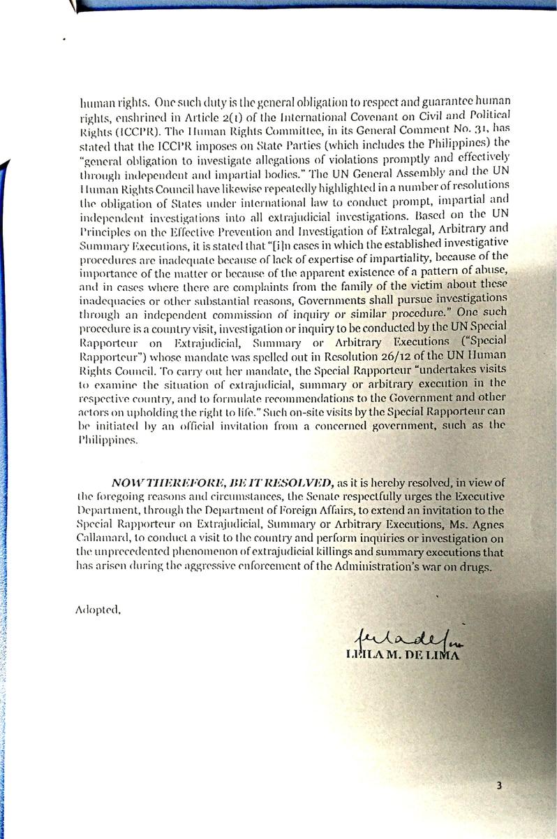 De Lima to UN: Probe Duterte drug war 3