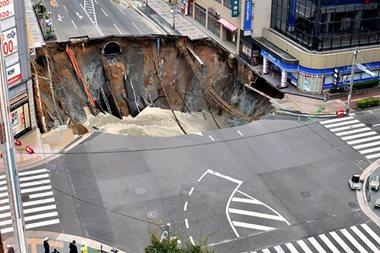 LOOK: Giant sinkhole swallows Japan city street