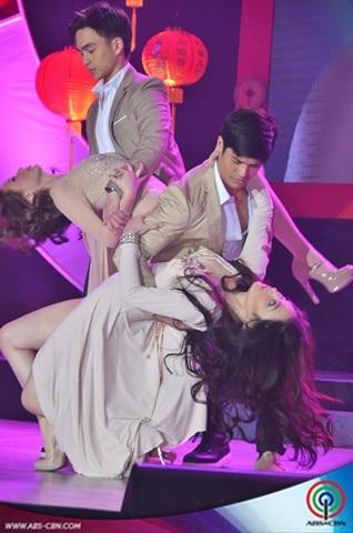 Moon of Desire's Ellen Adarna, Meg Imperial, JC de Vera & Dominic Roque in sexy prod number at the ABS-CBN Trade Event